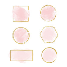 Watercolor Logo Branding, Pink Blush Set, Feminine Luxury Logo  Design Template - Vector