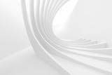 Fototapeta Fototapety przestrzenne i panoramiczne - White Circular Building. Modern Geometric Wallpaper. Futuristic Technology Design