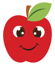 Happy Red Apple, Illustration,...