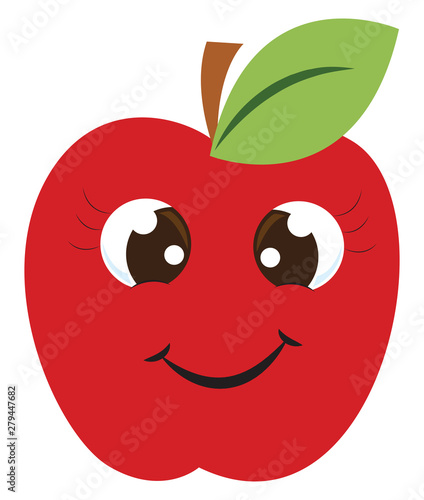 Happy red apple, illustration, vector on white background.