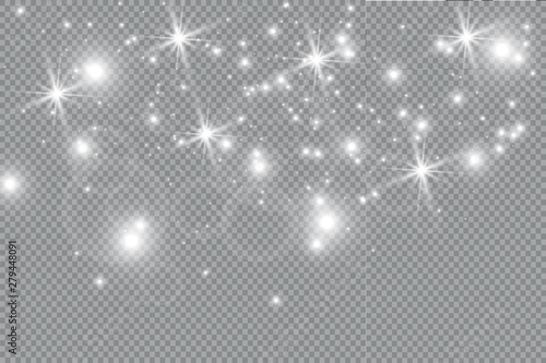 Obraz Dust white. White sparks and golden stars shine with special light. Vector sparkles on a transparent background. Christmas abstract pattern. Sparkling magical dust particles. - fototapety do salonu