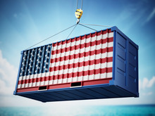 Cargo Container With Flag Of Italy Against Blue Sky. 3D Illustration