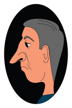 Old Man With Big Nose, Illustration, Vector On White Background.