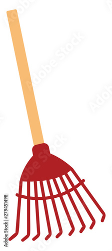 Obraz na plátně Red rake, illustration, vector on white background.
