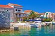 Colorful waterfront of Krapanj island village view
