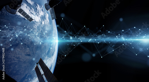 Fotomural  Satellites sending datas exchanges and connections system over the globe 3D rend