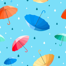Umbrellas Seamless Pattern Vector Illustration. Colorful Umbrellas With Raindrops On Blue Background.
