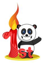 Pandas First Birthday, Illustr...