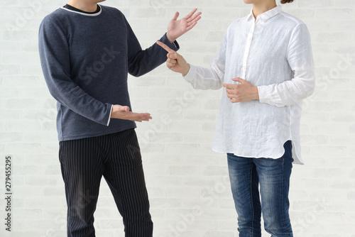 男性と女性の喧嘩 Canvas Print