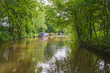 canvas print picture - Narrowboats on a British canal in rural setting