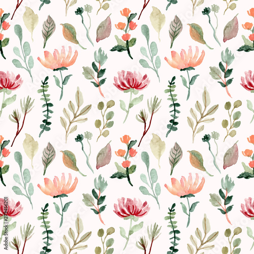 floral and foliage watercolor seamless pattern