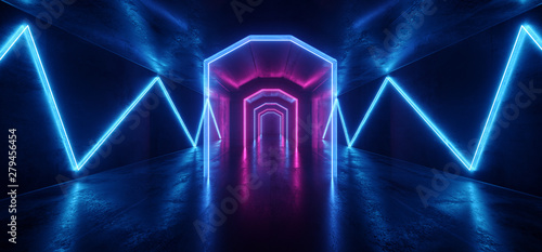 Futuristic  Sci Fi Laser Neon Shapes Glowing Light Vibrant Purple Blue Stage NIght Club Background Grunge Concrete Dark Tunnel Hall Corridor Garage Fashion Party Reflective 3D Rendering - 279456454