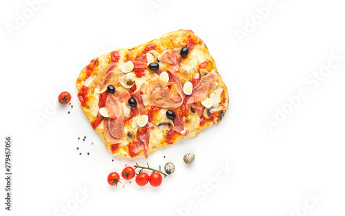 Rome square pizza or pinza with italian ham isolated on white background, top vi Wallpaper Mural