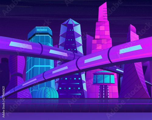Foto auf Leinwand Violett Futuristic neon night city with skyscrapers and railroad. Metropolis in blue violet colors.