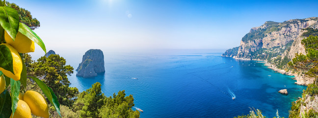 Panoramic collage with attractions of Capri Island, Italy