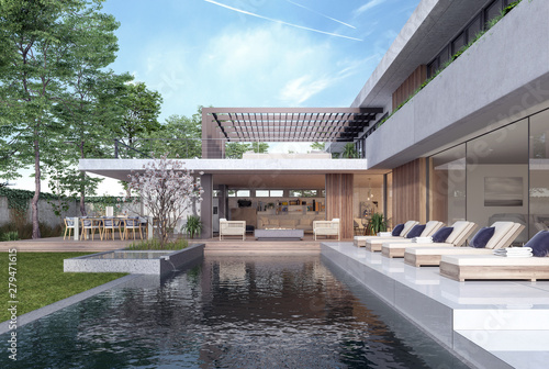 Modern House Exterior Design With Swimming Pool 3d Rendering