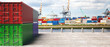 Leinwandbild Motiv Cargo containers, harbor background. Import export, logistics concept. 3d illustration