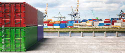 Fotografia, Obraz Cargo containers, harbor background