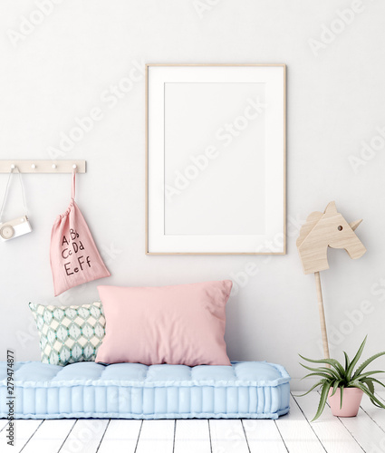 Staande foto Retro Mock up poster in kids bedroom interior background, Scandinavian style, 3D render