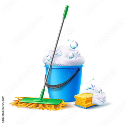 Obraz Realistic mop, sponge and bucket full of soapy foam with colorful bubbles. Floor mopping concept for housework design. Vector cleaning service banner. Domestic hygiene household chores 3d poster. - fototapety do salonu