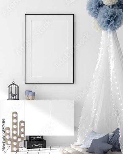 fototapeta na szkło Mock up poster in kids bedroom interior background, Scandinavian style, 3D render