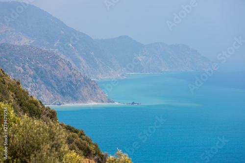 Printed kitchen splashbacks South Africa Bright blue sea and coastline mountains