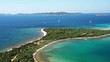 Croatia, Adriatic coast, drone flying over blue lagoon on Veli Rat on the island of Dugi Otok, beautiful archipelago with sailboats and yachts, panning shot