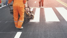 Road Workers With Thermoplasti...