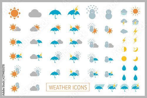 Fotografie, Obraz Set of simple weather icons. Vector.シンプル天気アイコン