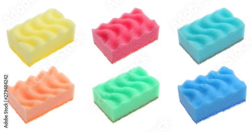 Valokuva  A set of kitchen sponges on a white background