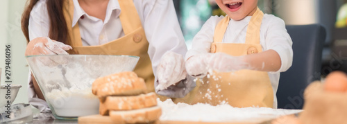 Canvas Prints Bread Pastry chef asian mom and son making bakery bread cake prepare delicious sweet food in the kitchen room for dinner at home together happy family lifestyle, Web Banner header.
