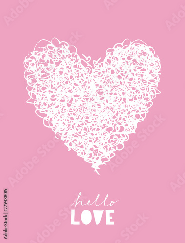 Plissee mit Motiv - Hello Love. Simple Romantic Vector Illustration with White Sketched Heart Isolated on a Light Pink Background. Hand Drawn Heart Made of Loops. Baby Girl Nursery Art for Card, Invitation, Poster. (von Magdalena)