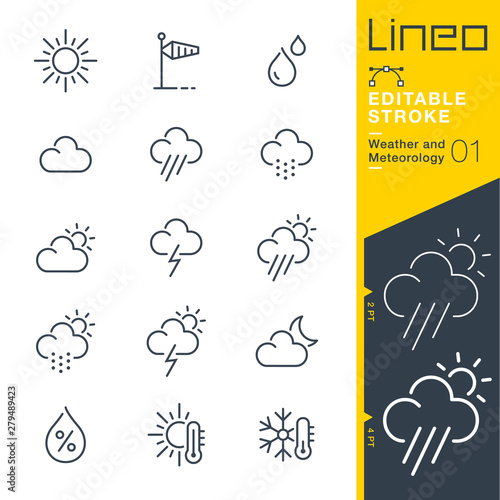 Foto Lineo Editable Stroke - Weather and Meteorology line icons