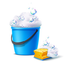 Realistic Plastic Bucket And Sponge With Soapy Foam With Colorful Bubbles For Household Chores, Floor Mopping, Dust Cleaning Design. Vector Housework Container. Blue Bucket For Cleaning And Washing.