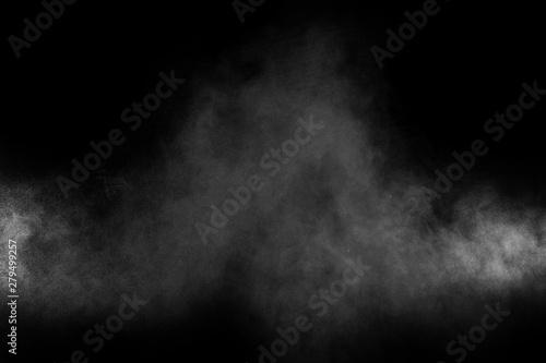 Garden Poster Smoke Abstract white powder explosion on a black background.Freeze motion of white powder splash.