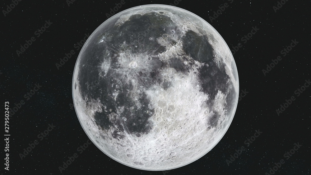 Fototapety, obrazy: Spin Moon Orbit Motion Milky Way Galaxy Background. Planet Surface Radiance Crater Scenery Satellite View. Outer Space Navigation Exploration 3D Animation