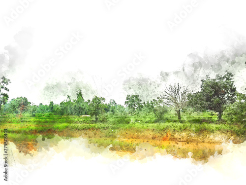Blanc Abstract colofrul tree land field landscape on watercolor illustration painting background.