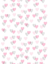 Cute Romantic Vector Pattern With Pink And Black Hearts Isolated On A White Background. Simple Repeatable Design For Valentines Day And Wedding Decoration, Wrapping Paper, Textile. Hearts Made Of Dots
