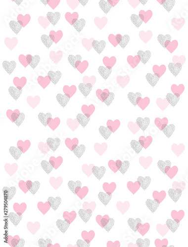 Foto-Schmutzfangmatte - Cute Romantic Vector Pattern with Pink and Black Hearts Isolated on a White Background. Simple Repeatable Design For Valentines Day and Wedding Decoration, Wrapping Paper, Textile. Hearts made of Dots (von Magdalena)