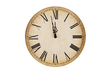 Old Vintage Clock Face Isolate...