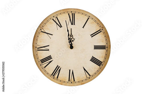 Cuadros en Lienzo Old vintage clock face isolated on white background