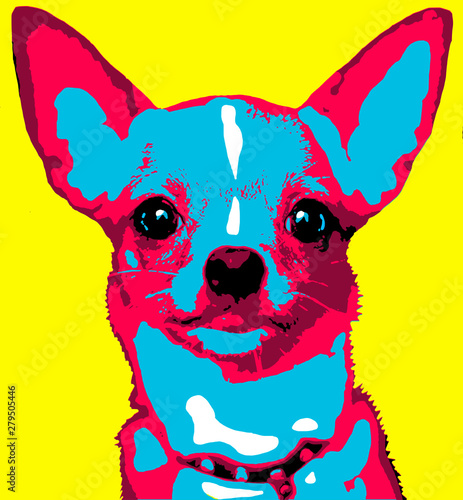 In de dag Pop Art illustration of a dog in pop art chihuahua