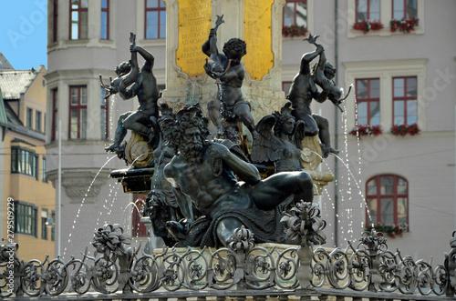 Augustusbrunnen auf Rathausplatz, Augsburg Canvas Print