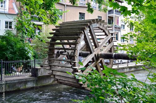 Wasserrad am Stadtbach in  Augsburg Canvas Print