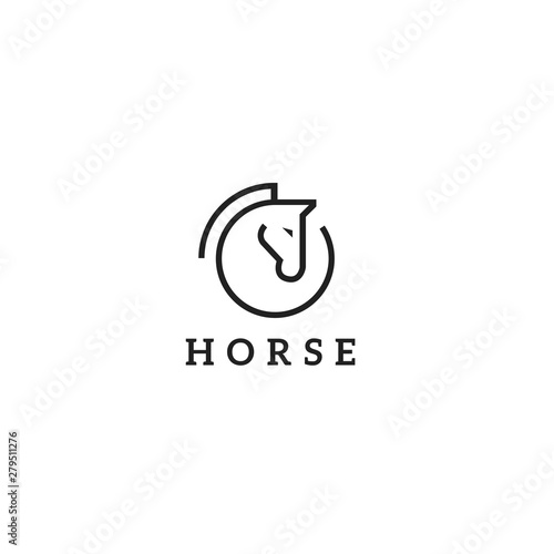 Vector linear icons and logo design elements - horse vector