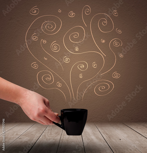 Steaming warm drink decorated with doodle line art
