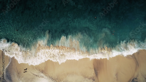 Motiv-Rollo Basic - Aerial Top Drone View on Ocean Waves and White Sand Beach. Crystal Water Landscape in Tropical Bali Island, Indonesia. People Walk, Swim and Relax. Cinematic Filter Toning