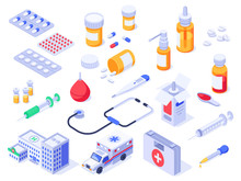 Isometric First Aid Kit. Health Care Medical Pills, Pharmacy Medicines And Drug Bottles. Hospital Ambulance 3d Isolated Vector Set