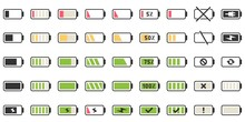 Battery Charge Icons. Powered Indicator, Charging Empty Batteries And Low Battery Power Icon Vector Illustration Set