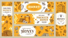 Honey Banner. Healthy Sweets, Natural Bees Honey Pot And Bee Farm Products Banners Vector Collection